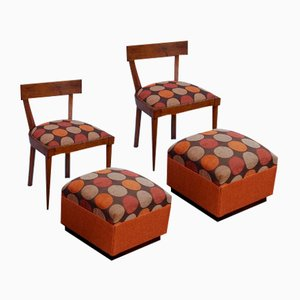 Stühle mit Fußhocker, 1950er, 4er Set