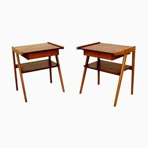 Tables de Chevet en Teck et Hêtre, Suède, 1950, Set de 2