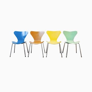 Series 7 Chairs by Arne Jacobsen for Fritz Hansen, 1955, Set of 4