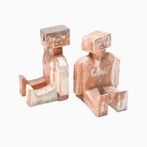 Sculptures Modernistes Brique Abstraite, 1970s, Set de 2
