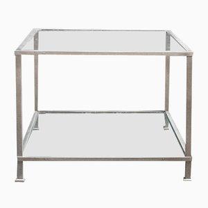 Tavolo quadrato con struttura in metallo placcato in nichel e ripiani in vetro, Italia, anni '70