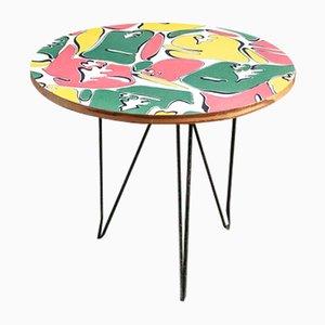 Tavolino da caffè in legno colorato e gambe in metallo, Italia, anni '50