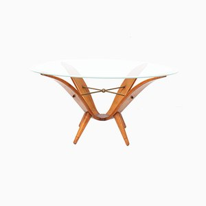 Table Basse Mid-Century Moderne en Noyer de Style Gio Ponti, Italie, 1950s