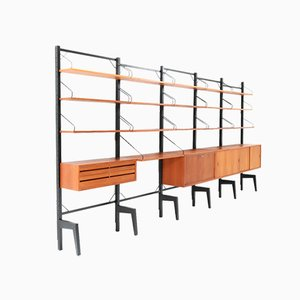 Large Mid-Century Modern Freestanding Modular Wall Unit by Poul Cadovius for Cado, Set of 24