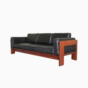 Bastiano Rosewood and Leather 3-Seater Sofa by Tobia & Afra Scarpa