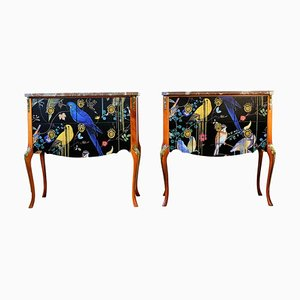 Gustavian Louis XV Style Chests with Christian Lacroix Finish, Set of 2