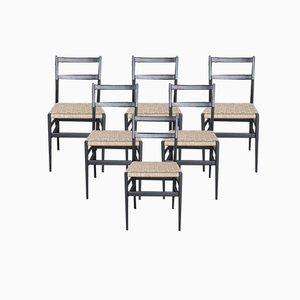 Chaises en Frêne Laqué avec Sièges en Paille par Gio Ponti, Set de 6
