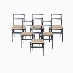 Lacquered Ash Chairs with Straw Seats by Gio Ponti, Set of 6