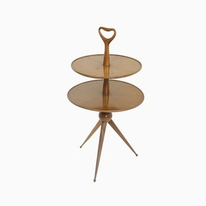 Table with Double Shelf in Lacquered Walnut by Cesare Lacca