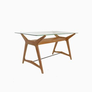 Cherry Wood Table and Glass Shelf