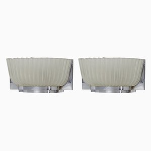 Wall Lights in Glass and Metal by Archimede Seguso, Set of 2