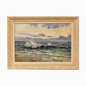 Art Deco Meereslandschaft Gemälde, 20. Jahrhundert