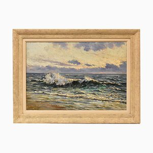 Art Deco Seascape Painting, 20th Century