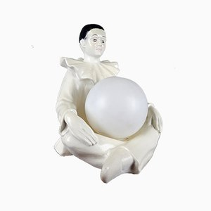 Weiße Mid-Century Keramik Tischlampe von Perriot, 1960er