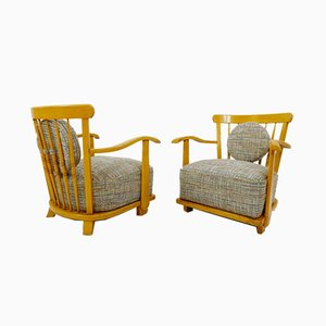 Wooden Armchairs with New Upholstery, Set of 2