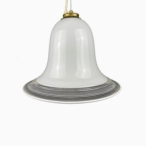 Lampe à Suspension Vintage en Verre de Murano Blanc, Italie, 1970s