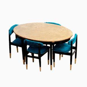Table & Chaises Vintage, Scandinavie, Set de 5