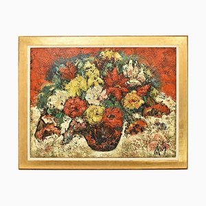 Stilleben Rosenmalerei in Vase, Öl auf Leinwand, 20. Jahrhundert