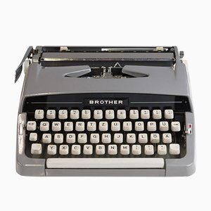 Vintage Portable Grey Typewriter from Brother, 1960s