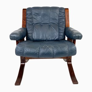 Norwegian Leather Lounge Chair, 1970s