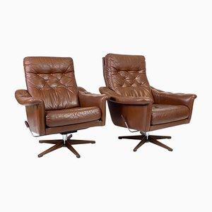 Swedish Leather Lounge Chair, 1970s
