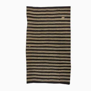 Oversized Mid-Century Modern Minimalist Black and White Striped Kilim Rug, 1960s