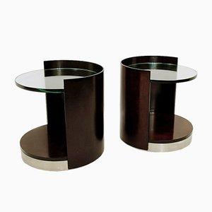 Beistelltische aus dunklem Holz & Glas, 2er Set