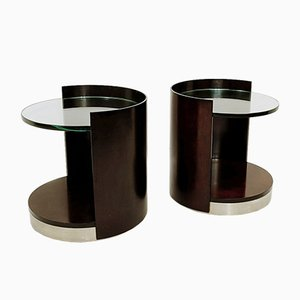 End Tables in Dark Wood and Glass, Set of 2