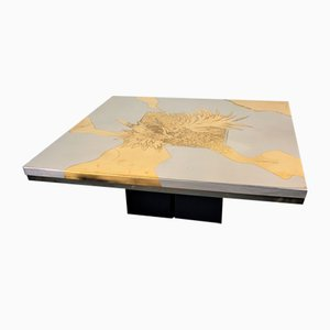 Square Brass Coffee Table by Christian Heckscher, 1970s