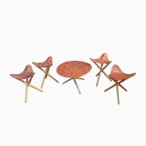 Tabourets et Table Safari, 1970s, Set de 5