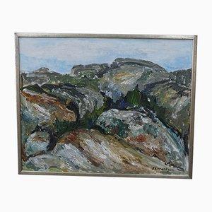 Schwedische Expressionist Gemälde von Sture Lorentzon, 1970er, Öl auf Leinwand