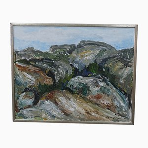 Swedish Expressionist Painting by Sture Lorentzon, 1970s, Oil on Canvas
