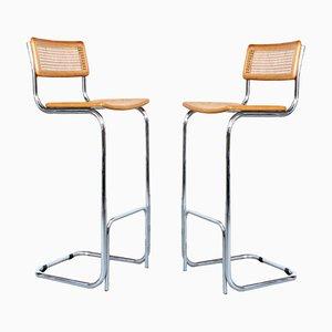 Barstühle aus Korbgeflecht und Chrom, 1980er, 2er Set