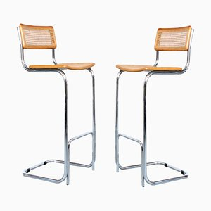 Wicker and Chrome Barstools, 1980s, Set of 2