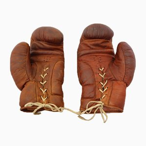 Boxing Gloves in Brown Leather, Pakistan, 1950s, Set of 2