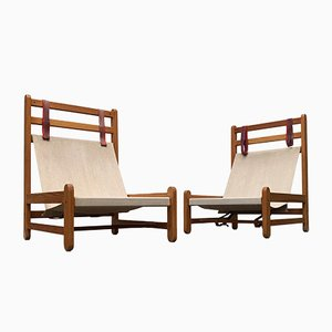 Mid-Century Danish Safari Lounge Chairs by Peter Ole Schiønning for Niels Eilersen, Set of 2