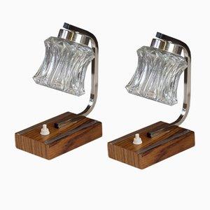 Lampes de Bureau Mid-Century en Bois et en Chrome, 1950s, Set de 2