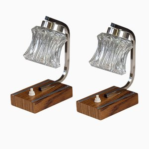 Mid-Century Wood and Chrome Table Lamps, 1950s, Set of 2