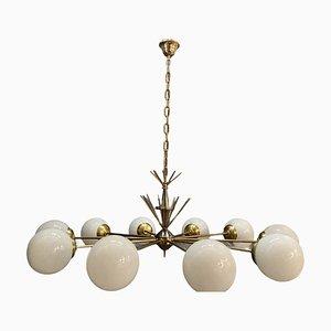 Large Brass, Chrome & Opaline Glass Sputnik Chandelier with 10 Lights