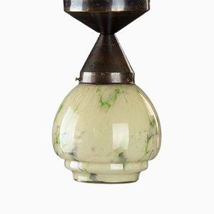 Kleine Art Deco Deckenlampe aus marmoriertem Glas, 1930er