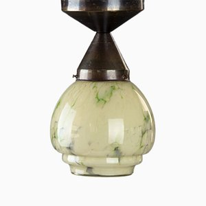 Small Art Deco Ceiling Lamp in Marbled Glass, 1930s