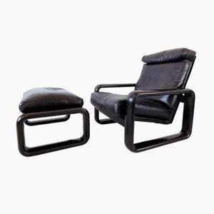 Hombre Leather Chair with Ottoman by Burkhard Vogtherr for Rosenthal, Set of 2