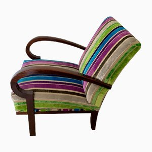 Art Deco Armchair with Striped Fabric, 1930s