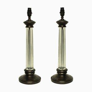 Lampes de Bureau Colonne en Verre, Angleterre, 1960s, Set de 2