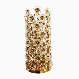 Hollywood Regency Blumen Tischlampe aus Kristallglas von Palwa, 1970er