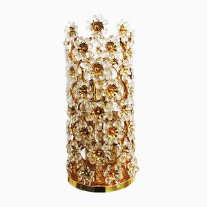 Hollywood Regency Crystal Flowers Table Lamp from Palwa, 1970s