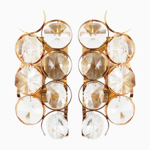 Hollywood Regency Crystal Glass Sconces from Palwa, 1960s, Set of 2