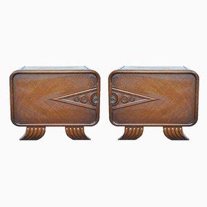Art Deco Carved Wooden Nightstands, 1930s, Set of 2