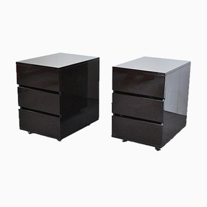 Side Tables with Three Drawers in Lacquered Wood, 1980s, Set of 2