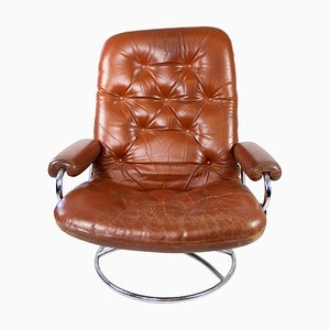 Danish Lounge Chair in Red Leather with Metal Frame, 1960s